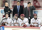 Destry Straight (BC - 17), John Hegarty (BC - Director-HockeyOps), Marty McInnis (BC - Assistant Coach), Quinn Smith (BC - 27), Chris Calnan (BC - 11), Mike Ayers (BC - Assistant Coach), Michael Sit (BC - 18) - The Boston College Eagles defeated the visiting Merrimack College Warriors 2-1 on Wednesday, January 21, 2015, at Kelley Rink in Conte Forum in Chestnut Hill, Massachusetts.