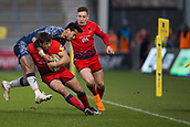 24th March 2018, AJ Bell Stadium, Salford, England; Aviva Premiership rugby, Sale Sharks versus Worcester Warriors; Denny Solomona of Sale Sharks tackles Dean Hammond of Worcester Warriors