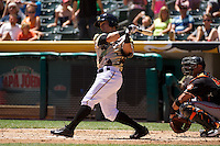 Tommy Field (23) of the Salt Lake Bees at bat against the Fresno Grizzlies at Smith's Ballpark on May 26, 2014 in Salt Lake City, Utah.  (Stephen Smith/Four Seam Images)