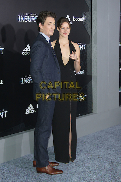 NEW YORK, NY - MARCH 16: Miles Teller and Shailene Woodley at the New York premiere of The Divergent Series: Insurgent at the Ziegfeld Theatre in New York City on March 16, 2015. <br /> CAP/MPI/RW<br /> &copy;RW/MPI/Capital Pictures
