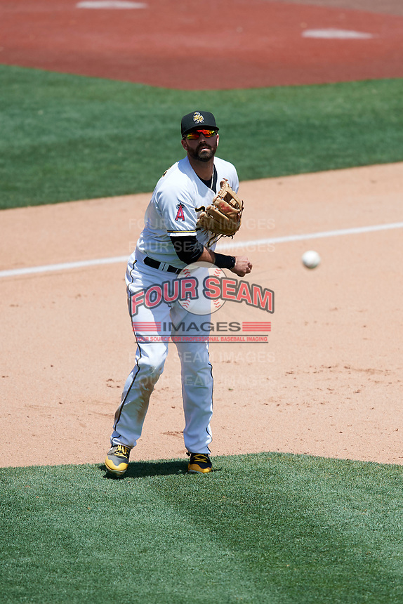 Kaleb Cowart (22) of the Salt Lake Bees on defense against the Albuquerque Isotopes in Pacific Coast League action at Smith's Ballpark on June 11, 2017 in Salt Lake City, Utah. The Bees defeated the Isotopes 6-5. (Stephen Smith/Four Seam Images)