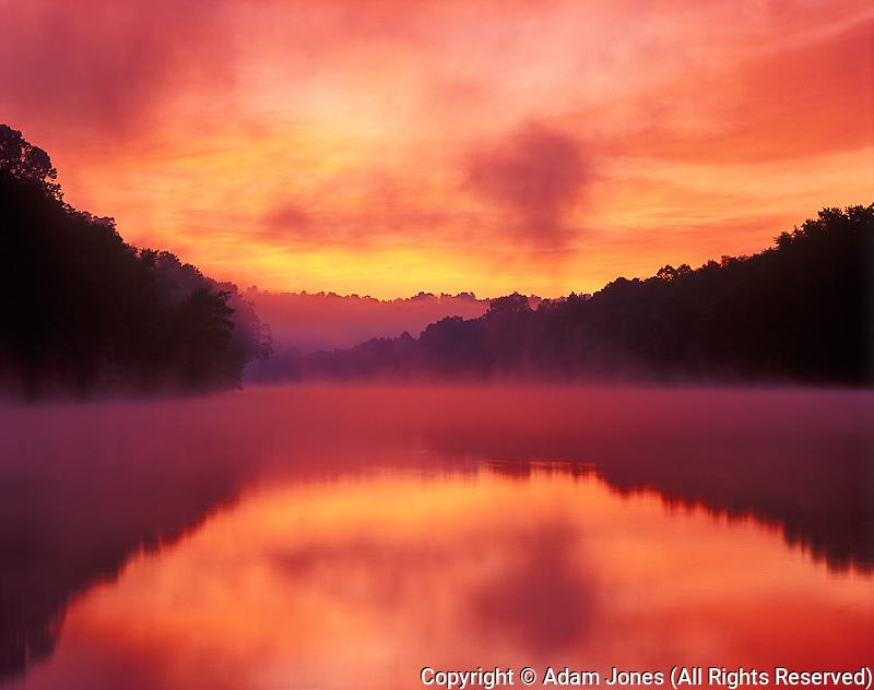 Foggy sunrise on Kentucky River, Kentucky River Palisades,  Jessamine County, Kentucky