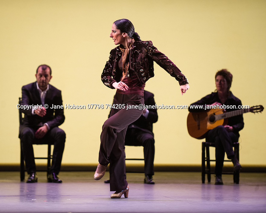 London, UK. 11.03.2014. Gala Flamenca: The Five Seasons, performed by Marco Flores, Olga Pericet, Laura Rozalen and Mercedes Ruiz, as part of the Flamenco Festival London 2014, at Sadler's Wells. Picture shows: Mercedes Ruiz. Photograph © Jane Hobson.