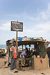 "A beachside ""restaurant"" serves fresh grilled fish in Yoff, a fishing village 30 minutes from Senegal's capital city of Dakar."