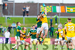 Jack Sherwood, Kerry in action against Bryan Menton, Meath during the Football All-Ireland Senior Championship Quarter-Final Group 2 Phase 3 match between Kerry and Meath at Páirc Tailteann, Navan on Saturday.