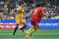 26 November 2017, Melbourne - KYAH SIMON (17) of Australia runs with the ball during an international friendly match between the Australian Matildas and China PR at GMHBA Stadium in Geelong, Australia.. Australia won 5-1. Photo Sydney Low