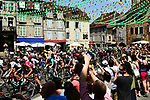 The peloton pass through Arbois during Stage 8 of the 104th edition of the Tour de France 2017, running 187.5km from Dole to Station des Rousses, France. 8th July 2017.<br /> Picture: ASO/Alex Broadway | Cyclefile<br /> <br /> <br /> All photos usage must carry mandatory copyright credit (&copy; Cyclefile | ASO/Alex Broadway)