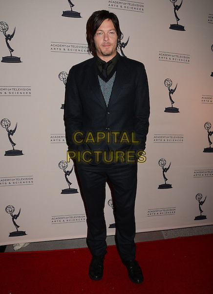 "Norman Reedus.The Academy of Television Arts & Sciences hosts an evening with ""The Walking Dead"", North Hollywood, California, USA..February 5th, 2013.full length black suit green jumper top hands in pockets stubble facial hair .CAP/ADM/BT.©Birdie Thompson/AdMedia/Capital Pictures."