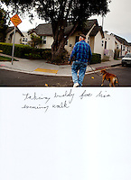"""This is a scan of a print that was given to the subject, Gary Seymour, so that he could write his thoughts. He wrote:..""""taking buddy for his evening walk""""..Ventura, California, July 21, 2010 - Gary Seymour walks with his Staffordshire terrier, Buddy, in their neighborhood. Mr. Seymour says that he walks with Buddy several times each day. """"We get up at six and go to the coffee shop and take a walk up in the hills. In the evenings I walking him over to the Mission [downtown]."""" Mr. Seymour has been homeless off and on for the last thirty years. He currently lives in a camper parked left to him by his father that is parked in the driveway of a friend's mother. Because it is an illegal camp, Mr. Seymour is considered homeless. He says, """"I work odd jobs, landscaping and whatnot to make a little money. I am trying to get back on my feet."""" Mr. Seymour is proud that he does not panhandle. """"I earn my own living without asking people for handouts."""" ...."""