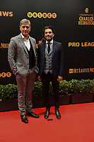 20190116 – PUURS ,  BELGIUM : Felice Mazu (L) and Mehdi Bayat (R) pictured during the  65nd men edition of the Golden Shoe award ceremony and 3th Women's edition, Wednesday 16 January 2019, in Puurs Studio 100 Pop Up Studio. The Golden Shoe (Gouden Schoen / Soulier d'Or) is an award for the best soccer player of the Belgian Jupiler Pro League championship during the year 2018. The female edition is the thirth one in Belgium.  PHOTO DIRK VUYLSTEKE | Sportpix.be