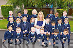 Oonagh McCarthy with her junior infants class at St Oliver's NS, Killarney on Thursday..