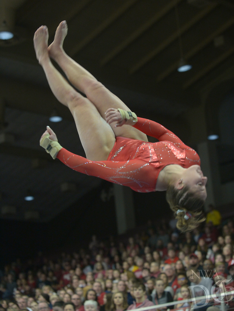 NWA Democrat-Gazette/ANDY SHUPE<br /> Arkansas' Savannah Pennese competes in the vault Saturday, Jan. 5, 2019, during the Razorbacks' meet with No. 2 Oklahoma in Barnhill Arena in Fayetteville. Visit nwadg.com/photos to see more photographs from the meet.