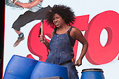 London, UK. 21 June 2015. Stars from the hit show Stomp perform at West End Live 2015 in Trafalgar Square.