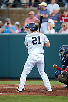 Ryder Green (21) of the Pulaski Yankees at bat against the Danville Braves at Calfee Park on June 30, 2019 in Pulaski, Virginia. The Braves defeated the Yankees 8-5 in 10 innings.  (Brian Westerholt/Four Seam Images)