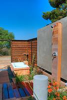 Outdoor, Shower, Bath, Wood Flooring, Bathroom, Open Air High dynamic range imaging (HDRI or HDR)