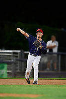 Binghamton Rumble Ponies third baseman Andrew Ely (6) throws to first base during a game against the Portland Sea Dogs on August 31, 2018 at NYSEG Stadium in Binghamton, New York.  Portland defeated Binghamton 4-1.  (Mike Janes/Four Seam Images)