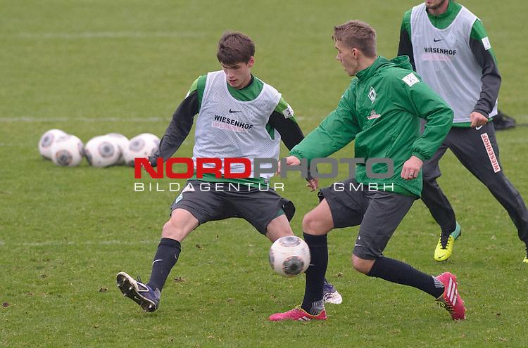 10.12.2013, Trainingsgelaende, Bremen, GER, 1.FBL, Training Werder Bremen, im Bild Luka Zander (Bremen #14), Nils Petersen (Bremen #24)<br /> <br /> Foto &not;&copy; nordphoto / Frisch *** Local Caption ***