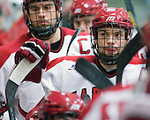 (Grimshaw) Daniel Moriarty (Harvard - 11) - The Harvard University Crimson defeated the visiting Clarkson University Golden Knights 3-2 on Harvard's senior night on Saturday, February 25, 2012, at Bright Hockey Center in Cambridge, Massachusetts.