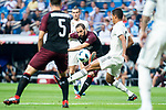Real Madrid Raphael Varane and A.C. Milan Gonzalo Higuain during Santiago Bernabeu Trophy match at Santiago Bernabeu Stadium in Madrid, Spain. August 11, 2018. (ALTERPHOTOS/Borja B.Hojas)