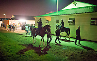 HALLANDALE BEACH, FL - JAN 27: California Chrome, with exercise rider Dihigi Gladney walks to the track for his final preparations for the Pegasus World Cup at Gulfstream Park Race Course on January 27, 2017 in Hallandale Beach, Florida. (Photo by Scott Serio/Eclipse Sportswire/Getty Images)