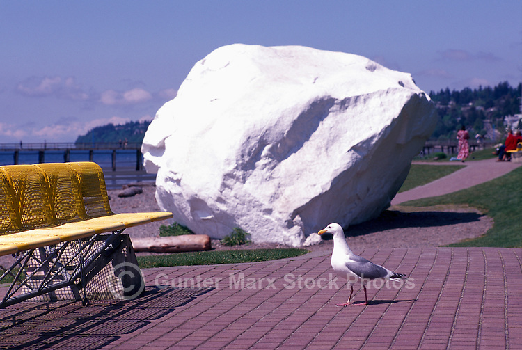 Glacial Erratic - a Big Granite Rock painted White - along Seaside Promenade Walkway and Beach at Semiahmoo Bay, White Rock, BC, British Columbia, Canada - Seaside Attraction