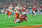 Ohio State Buckeyes running back J.K. Dobbins (2) dives for a pass during the Fiesta Bowl game against the Clemson Tigers on Saturday, Dec 28, 2019 in Glendale, Ariz.  (Gene Lower via AP)