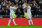 Carlos Henrique Casemiro and Luka Jovic of Real Madrid celebrate goal during La Liga match between Real Madrid and Sevilla FC at Santiago Bernabeu Stadium in Madrid, Spain. January 18, 2020. (ALTERPHOTOS/A. Perez Meca)