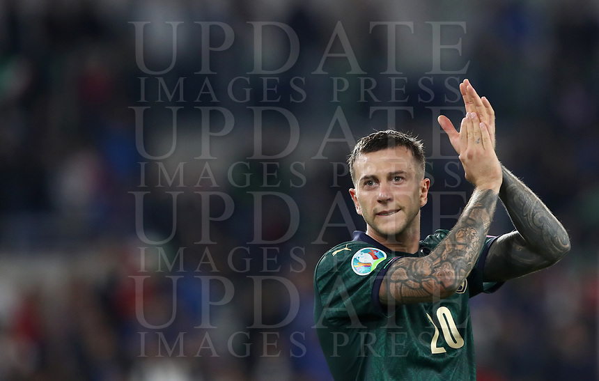 Football: Euro 2020 Group J qualifying football match Italy vs Greece at the Olympic stadium, in Rome, on October 6, 2019.<br /> Italy's Federico Bernardeschi celebrates after winning 2-0 the UEFA Euro 2020 Group J qualifier football match between Italy and Greece between Italy and Greece at the Olympic stadium, in Rome, on October 6, 2019.<br /> UPDATE IMAGES PRESS/Isabella Bonotto