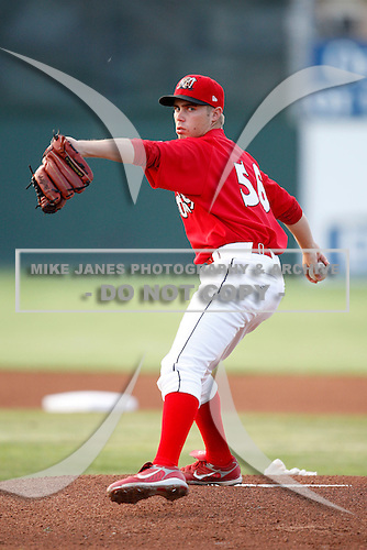 July 24, 2009:  Pitcher Scott Schneider of the Batavia Muckdogs during a game at Dwyer Stadium in Batavia, NY.  The Muckdogs are the NY-Penn League Short-Season Class-A affiliate of the St. Louis Cardinals.  Photo By Mike Janes/Four Seam Images