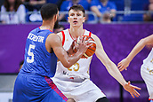 7th September 2017, Fenerbahce Arena, Istanbul, Turkey; FIBA Eurobasket Group D; Russia versus Great Britain; Forward Andrey Vorontsevich #20 of Russia in blocks Guard Teddy Okereafor #5 of Great Britain during the match
