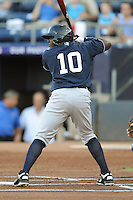 Empire State designated hitter Ronnier Mustelier #10 awaits a pitch during a game against the Durham Bulls  at Durham Bulls Athletic Park on June 8, 2012 in Durham, North Carolina . The Yankees defeated the Bulls 3-1. (Tony Farlow/Four Seam Images).