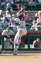 Salt River Rafters third baseman Josh Fuentes (19), of the Colorado Rockies organization, at bat during the Arizona Fall League Championship Game against the Peoria Javelinas at Scottsdale Stadium on November 17, 2018 in Scottsdale, Arizona. Peoria defeated Salt River 3-2 in 10 innings. (Zachary Lucy/Four Seam Images)