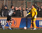 Kevin Turner scores for East Stirling and celebrates to Neil Alexander