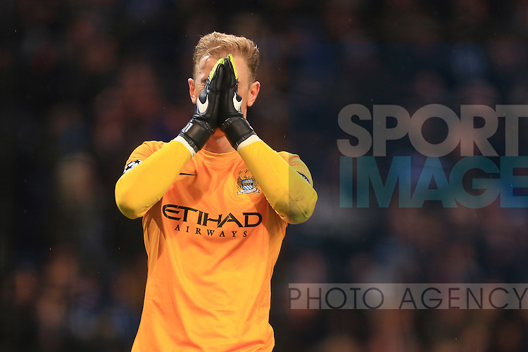 Joe Hart of Manchester City celebrates his sides winning goal - Manchester City vs. Bayern Munich - UEFA Champion's League - Etihad Stadium - Manchester - 25/11/2014 Pic Philip Oldham/Sportimage