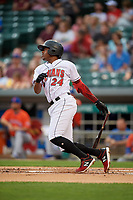 Indianapolis Indians Ke'Bryan Hayes (24) at bat during an International League game against the Syracuse Mets on July 16, 2019 at Victory Field in Indianapolis, Indiana.  Syracuse defeated Indianapolis 5-2  (Mike Janes/Four Seam Images)