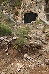 Israel, Mount Carmel. A copy of a Natufian burial outside the 70-meter-deep El-Wad (Stream) Cave......