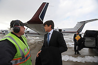 Illinois Governor Rod Blagojevich arrives home in Chicago aboard the state airplane after speaking in his own defense at his impeachment hearing at the state capitol in Springfield, Illinois on January 29, 2009.