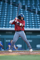 AZL Dbacks Oscar Santos (8) at bat during an Arizona League game against the AZL Cubs 2 on June 25, 2019 at Sloan Park in Mesa, Arizona. AZL Cubs 2 defeated the AZL Dbacks 4-0. (Zachary Lucy/Four Seam Images)
