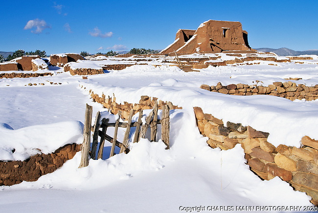 Snow covers the ruins of Pecos National Monument near the village of Pecos, New Mexico