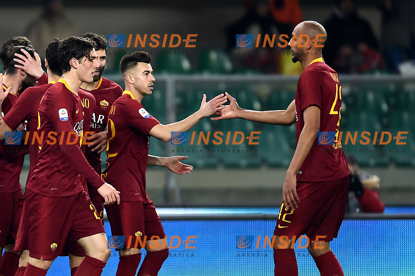 Stephan El Shaarawy of AS Roma celebrates with tSteven Nzonzi after scoring goal of 0-1 <br /> Verona 8-2-2019 Stadio Bentegodi Football Serie A 2018/2019 Chievo Verona - AS Roma <br /> Foto Image Sport / Insidefoto
