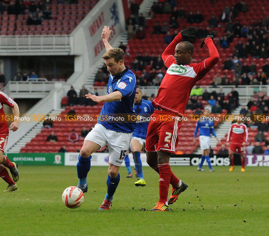 Wade Elliott of Birmingham City battles with Justin Hoyte of Middlesbrough - Middlesbrough vs Birmingham City - NPower Championship Football at the Riverside Stadium, Middlesbrough - 16/03/13 - MANDATORY CREDIT: Steven White/TGSPHOTO - Self billing applies where appropriate - 0845 094 6026 - contact@tgsphoto.co.uk - NO UNPAID USE.