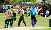 Scottish Saltires V Leicester Foxes, CB40 series, at Mannofield, Aberdeen - the end of a 17 international batting career came for Scotland's Gavin Hamilton with an lbw decision (here being celebrated by the Foxes) given, for 22 runs - Picture by Donald MacLeod 22.06.10 - mobile 07702 319 738 - words (if required) from William Dick 077707 83923