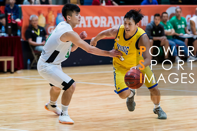 Poon Chi Ho #11 of Winling Basketball Club handles the ball against the Tycoon during the Hong Kong Basketball League playoff game between Tycoon and Winling at Queen Elizabeth Stadium on July 27, 2018 in Hong Kong. Photo by Yu Chun Christopher Wong / Power Sport Images