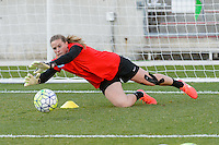 Bridgeview, IL, USA - Saturday, April 23, 2016: Chicago Red Stars goalkeeper Alyssa Naeher (1) warms up before a regular season National Women's Soccer League match between the Chicago Red Stars and the Western New York Flash at Toyota Park. Chicago won 1-0.