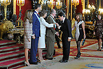 Princess Letizia of Spain, Prince Felipe of Spain, Queen Sofia of Spain, King of Spain Juan Carlos I, the President of the Region of Madrid Ignacio Gonzalez and his wife attend the Royal Palace reception on the National Military Parade.October 12,2012.(ALTERPHOTOS/Pool)