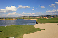 A view of the 18th green, fairway and water feature during Round 1 of the Challenge de Madrid, a Challenge  Tour event in El Encin Golf Club, Madrid on Wednesday 22nd April 2015.<br /> Picture:  Thos Caffrey / www.golffile.ie