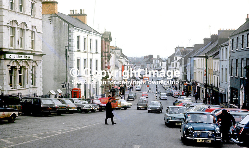 High Street looking in the direction of Market Street, Omagh, Co Tyrone, N Ireland, UK, March, 1972, 197203000124b<br />