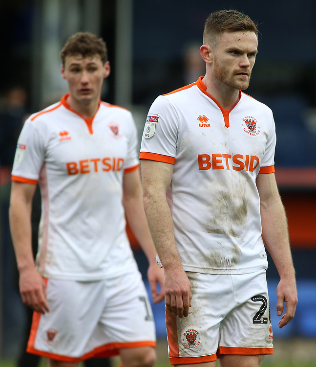 Blackpool's Oliver Turton cuts a frustrated figure at the final whistle<br /> <br /> Photographer David Shipman/CameraSport<br /> <br /> The EFL Sky Bet League One - Luton Town v Blackpool - Saturday 6th April 2019 - Kenilworth Road - Luton<br /> <br /> World Copyright © 2019 CameraSport. All rights reserved. 43 Linden Ave. Countesthorpe. Leicester. England. LE8 5PG - Tel: +44 (0) 116 277 4147 - admin@camerasport.com - www.camerasport.com