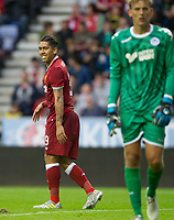 Roberto Firmino of Liverpool after a missed opportunity during the pre season friendly match between Wigan Athletic and Liverpool at the DW Stadium, Wigan, England on 14 July 2017. Photo by Andy Rowland.