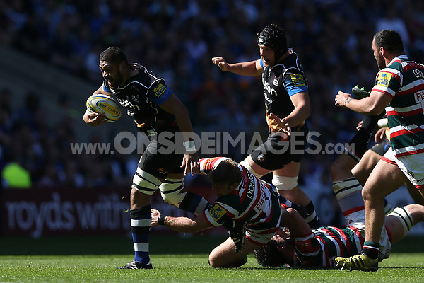 Taulupe Faletau of Bath Rugby takes on the Leicester Tigers defence. The Clash, Aviva Premiership match, between Bath Rugby and Leicester Tigers on April 8, 2017 at Twickenham Stadium in London, England. Photo by: Rogan Thomson / JMP for Onside Images